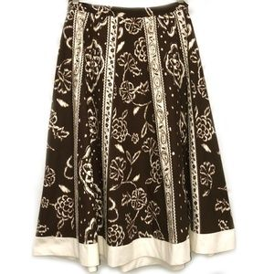 Coldwater Creek Brown Cream Gold Midi Skirt